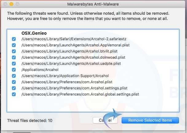 removing selected items on MalwareBytes Anti-Malware Cleanup Tool