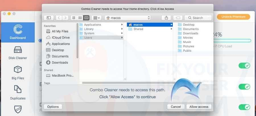 allow access to macos