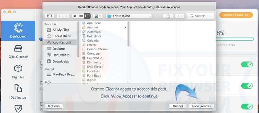 allow access to application directory
