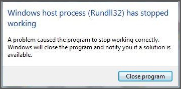 Rundll32 stopped working