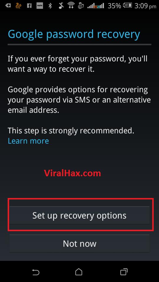 configurar la contraseña de google Android