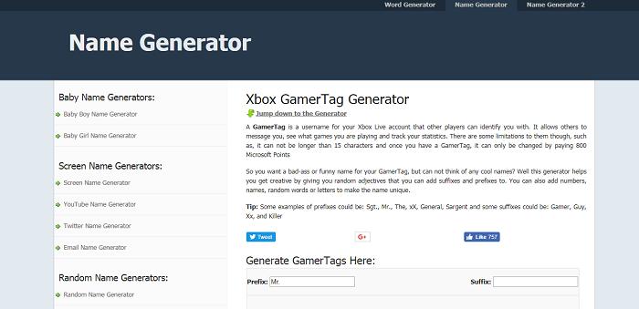 Name Generator – Xbox GamerTag Generator
