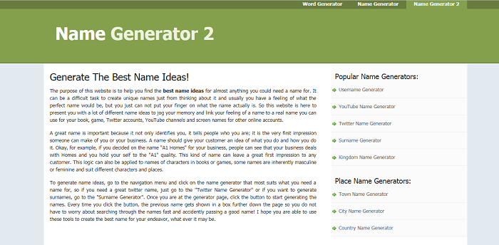 Name Generator 2- Generator for Social Media Platforms