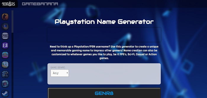 Gen8rs – PlayStation Username Generator