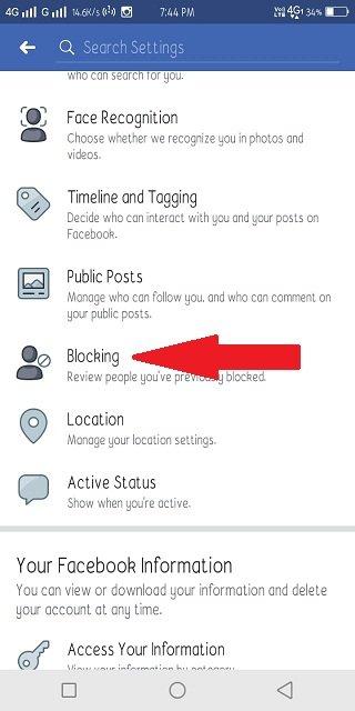 blocking settings Facebook