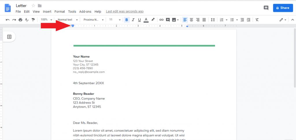 margin ruler Google docs