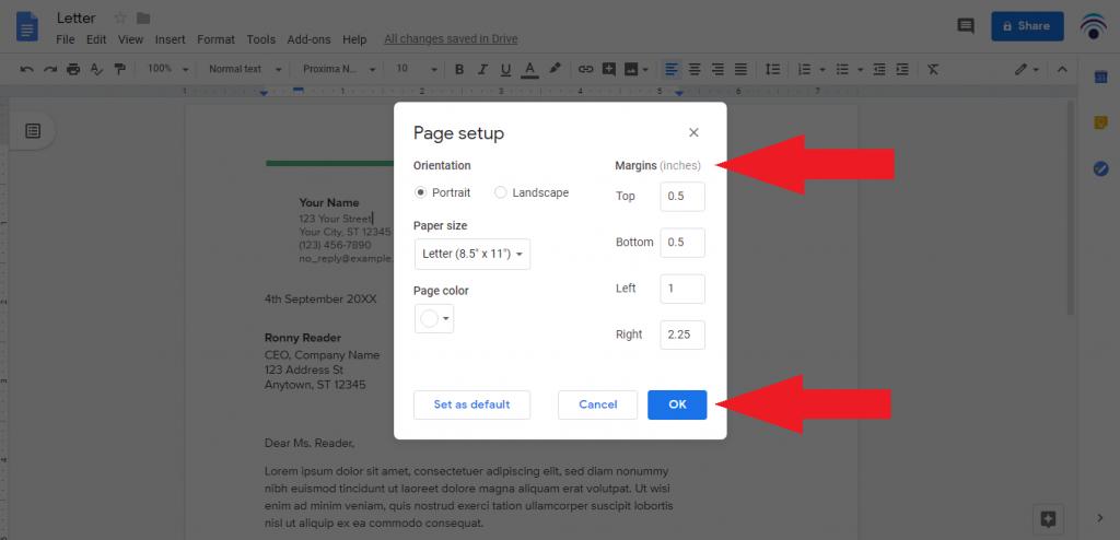 change margin using page setup box