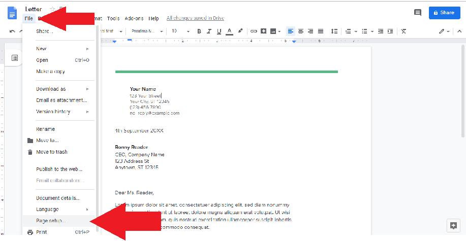 file option page setup google docs