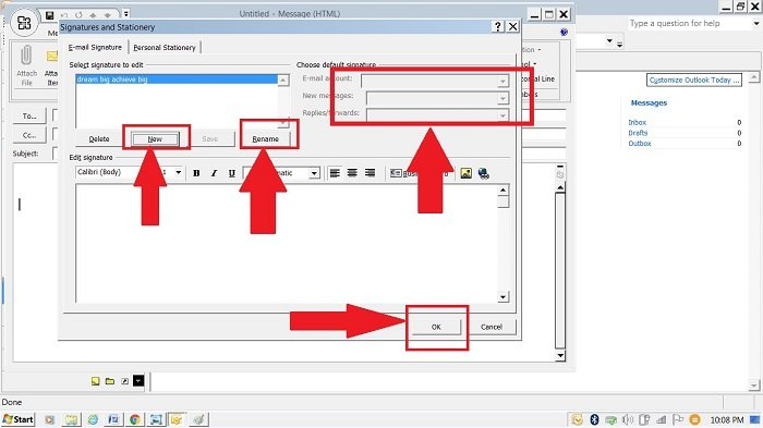 creating new signature outlook 2007