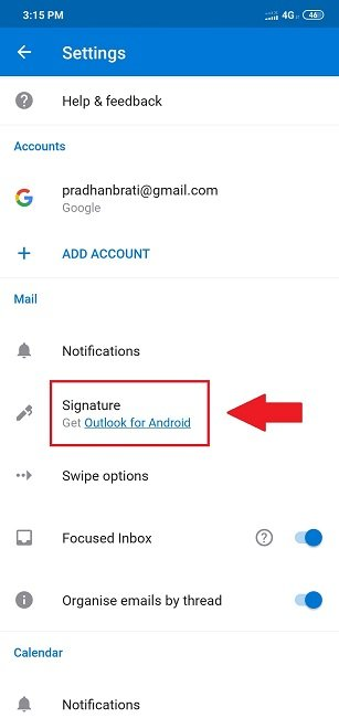 change signature outlook android app