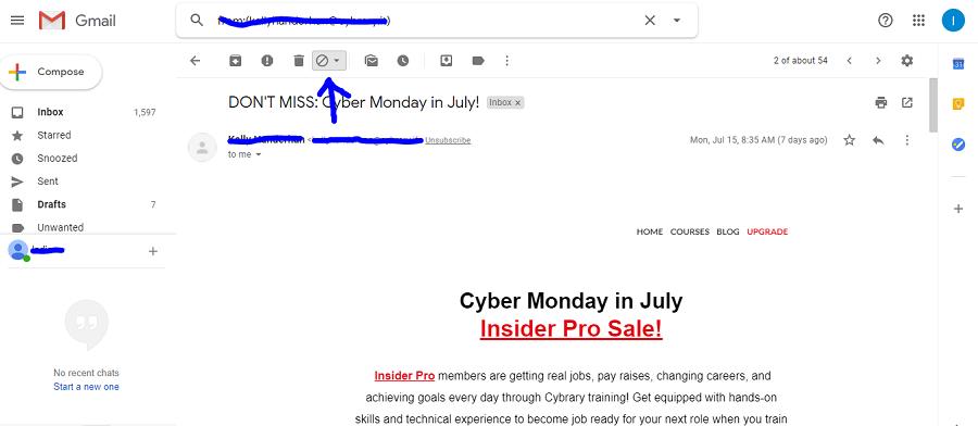 block someone on gmail using block sender extension