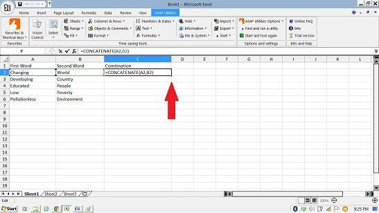 Merging Cells in Excel by Concatenate Function