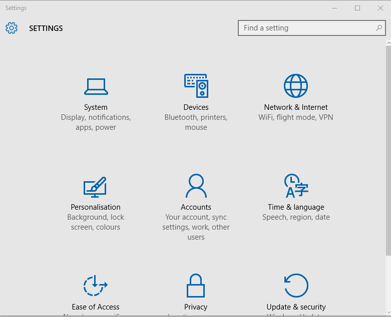 devices settings windows 10