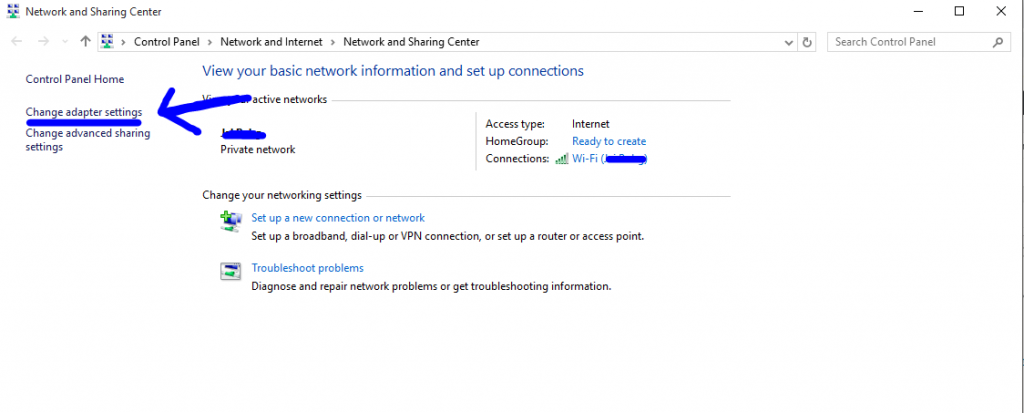 change adapter settings of wifi on windows 10