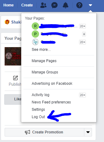 logout of facebook to unblock your account