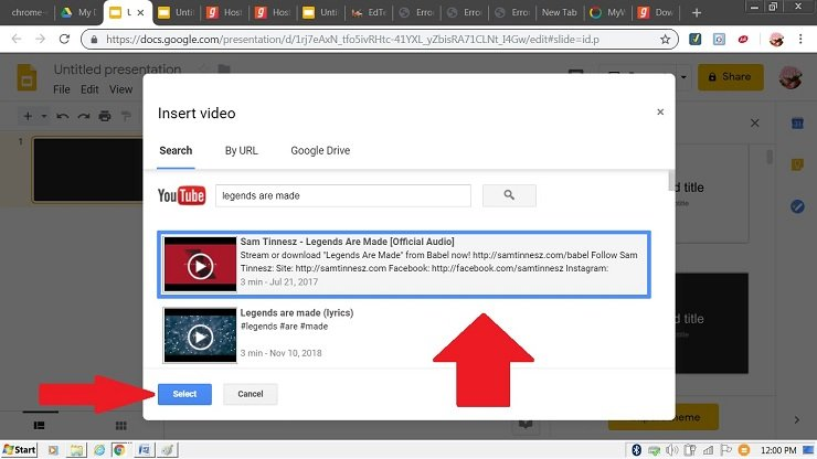 insert music using youtube google slides