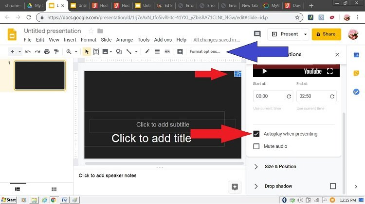 autoplay youtube music google slides