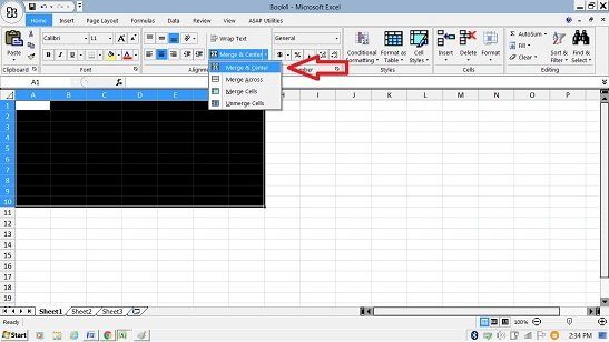 "Merging Cells in excel with ""Merge & Center"" option"