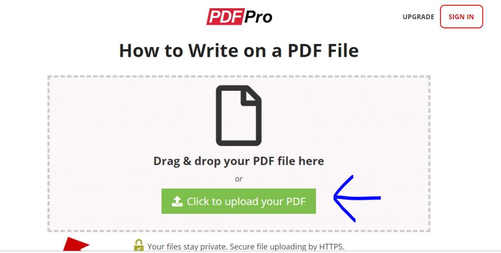 upload pdf to write