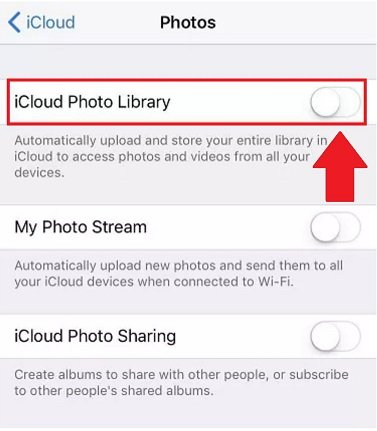 disable icloud photo library on your device
