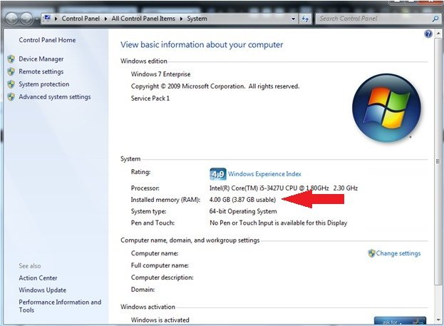 installed memory ram on windows 7 pc
