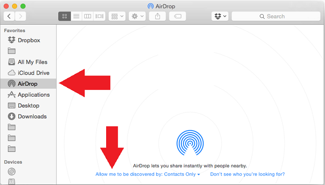 making airdrop discoverable on mac to sync contacts
