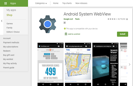 android system webview app play store