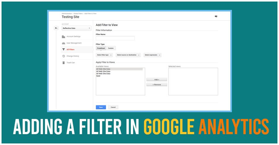 adding in a filter from google analytics