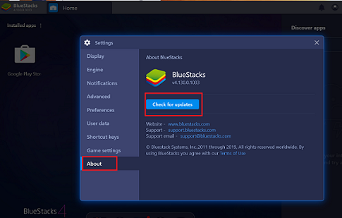 update bluestacks