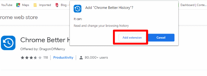 Allow Chrome Better History Extension To Install