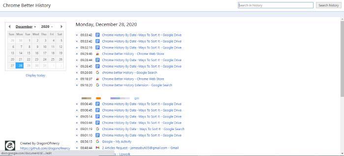 Open History Settings -Chrome Better History
