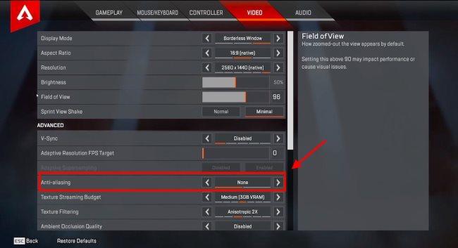 Disable the Anti-Aliasing option