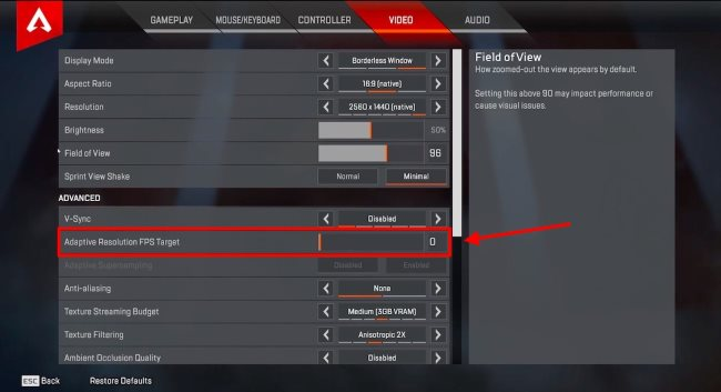 Set Adaptive Resolution FPS Target to 0