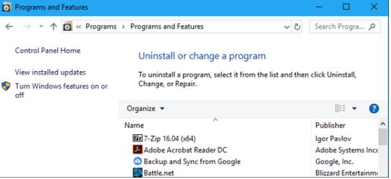 click on remove programs option